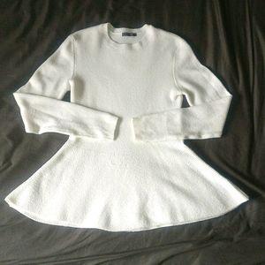 EUC White Cream Peplum Sweater